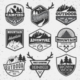 Set of monochrome outdoor camping adventure and mountain badge