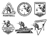 Set of monochrome paintball logos Royalty Free Stock Photos