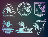 Set of monochrome paintball logos. Stock Image