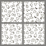 Set monochrome patterns in the style hand drawing Royalty Free Stock Photography