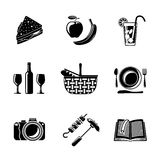 Set of monochrome picnic icons - basket, plate Stock Images