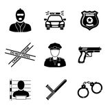 Set of monochrome police icons - gun, car, crime Royalty Free Stock Photo