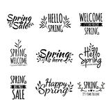 Set of monochrome retro vintage logos, icons Stock Image