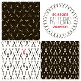 Set of monochrome scissors backgrounds Royalty Free Stock Images