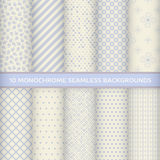 Set of monochrome seamless backgrounds Stock Photography