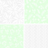 Set of monochrome seamless floral patterns Stock Photography