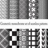 Set of monochrome seamless. Set of 10 geometric monochrome East Asian and Greek ornaments Royalty Free Stock Photography