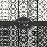 Set of monochrome seamless pattern with circle Royalty Free Stock Photography
