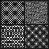 Set of monochrome seamless patterns in Asian style. Set of four black and white seamless patterns in Asian style Stock Photo