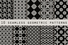 Set of 10 monochrome seamless patterns. Geometric seamless pattern. Vector. Illustration Stock Illustration