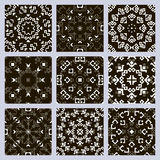 Set of monochrome seamless patterns Stock Images