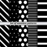 Set of monochrome seamless patterns Stock Photography