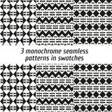 Set of 3 monochrome seamless patterns in swatches Stock Photos