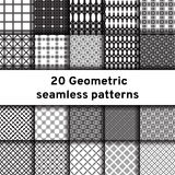 Set of 20 monochrome seamless patterns Royalty Free Stock Photography