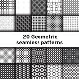 Set of 20 monochrome seamless patterns Royalty Free Stock Images