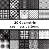 Set of 20 monochrome seamless patterns Stock Photo