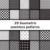 Set of 20 monochrome seamless patterns Royalty Free Stock Image