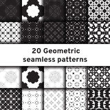 Set of 20 monochrome seamless patterns Stock Photography