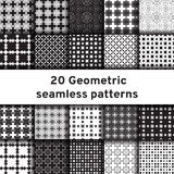 Set of 20 monochrome seamless patterns Royalty Free Stock Photos