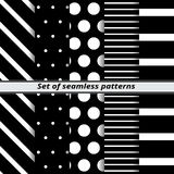 Set of monochrome seamless patterns Royalty Free Stock Photo