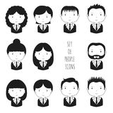 Set of monochrome silhouette office people icons Stock Photo