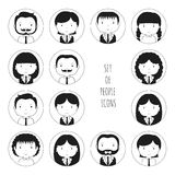 Set of monochrome silhouette office people icons Stock Image