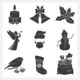 Set Monochrome Silhouettes Christmas Icons Royalty Free Stock Photography