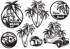 A set of monochrome templates with different palm, waves, coconut and a car. Vector illustration Royalty Free Stock Image
