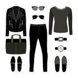 Set of monochrome trendy men's clothes with rocker jacket Stock Images