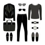 Set of monochrome trendy men's clothes with rocker jacket Stock Images