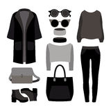 Set of  monochrome trendy women's clothes with coat, trousers Royalty Free Stock Photography