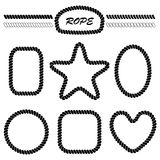 Set of monochrome vector brushes and frames. Set of monochrome vector brushes in the form of marine rope and the blank frames in the shape of a heart, star Stock Image