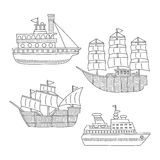 Set of monochrome vector doodle boats and ships isolated on white background.  Stock Image