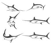 Set of monochrome vector marlins Royalty Free Stock Image
