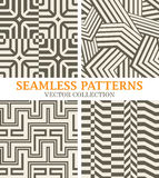 Set of Monochrome Vector Patterns with Straight Lines. Modern Geometrical Backgrounds for Textile Design stock illustration