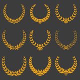 Set of monochrome vector wreaths Royalty Free Stock Photos