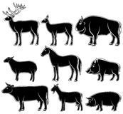 Set of monochrome wild and domestic animals Royalty Free Stock Photography