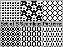 Set of 6 monochromic seamless patterns with various geometric shapes of white and black shades Stock Image