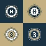 Set monogram blue and gold Royalty Free Stock Image
