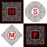 Set of monogram lettering Stock Photos