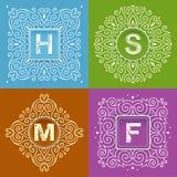 Set of monogram lettering Stock Photos