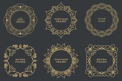 Set of monogram line vintage frames Royalty Free Stock Photo