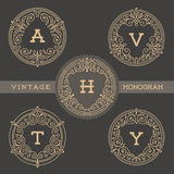 Set of monogram logo template Stock Images