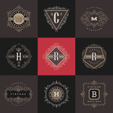 Set of monogram logo template Royalty Free Stock Photos