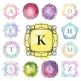 Monogram template with flourishes calligraphic elegant ornament watercolor badge letter vector illustration. Set of monogram logo template with flourishes vector illustration