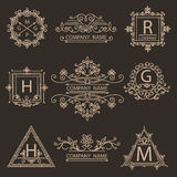 Set monogram ornamental logos emblem Royalty Free Stock Image