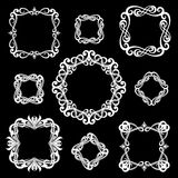 Set of monogram vintage frames for logos. White on black backgro. Und vector illustration