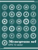 Set of monogram in vintage frames, whole alphabet of letters. Eps 10 vector Royalty Free Stock Photo