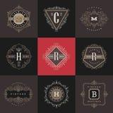 Set monograma loga szablon Zdjęcia Royalty Free