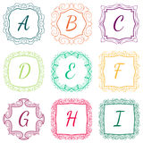 Set of monograms hand drawn style colorful with. Set of monograms hand drawn style colorful, ABC with nice frames Royalty Free Stock Images